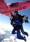 Skydive Taupo and the pink plane high above the Great Lake Taupo