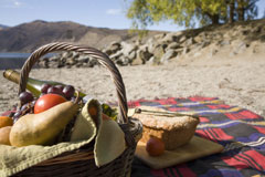 Have a picnic on the shoreline of Lake Dunstan