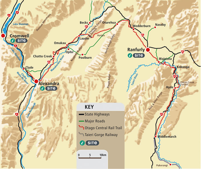 Full map of the Otago Central Rail Trail - Click on sections of the Track to read more...