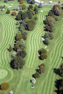 View of 11th hole from a Helicopter