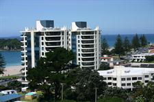Oceanside Twin Towers Resort, as seen from Mt Maunganui