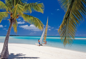 Aitutaki - Couple on Hobie Cat at One Foot Island