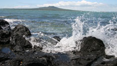 Waves Breaking on the rocks, with Rangitoto Island in the background