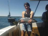 Trinity Smith fishing on lake taupo