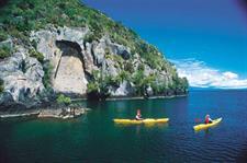 Lake Taupo, kayaking the Maori carvings on the Great Lake Taupo
