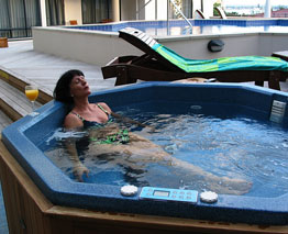 Relaxing in the Spa Pool at Anchorage Apartments, Mt Maunganui