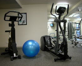 The gym at the Anchorage Apartment's offers a TV, bathroom and shower facilities