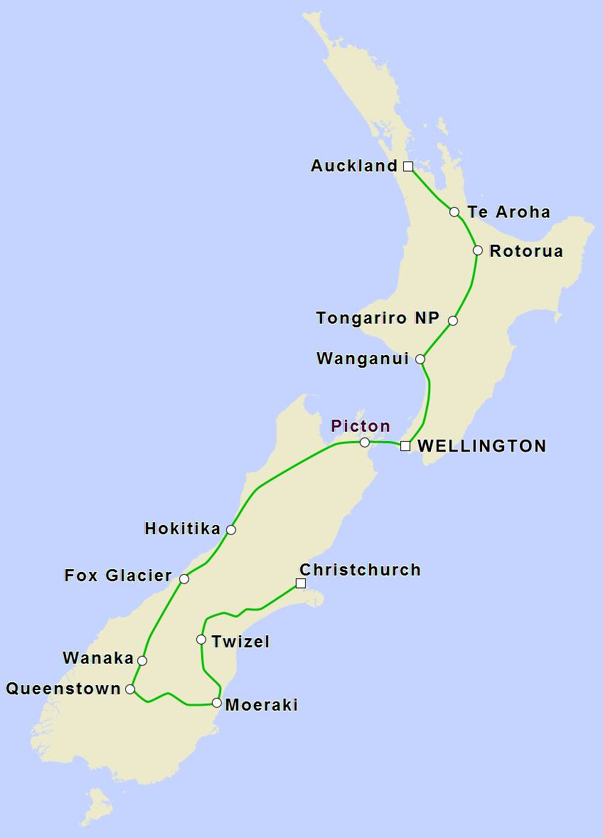 Hokitika New Zealand Map.17 Day Cycle Tour Of New Zealand Anz Nature Tours
