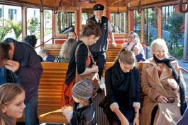Passengers aboard Auckland Tram