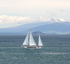 Enjoy watersports on lake Taupo, or go skiing on the mountains nearby