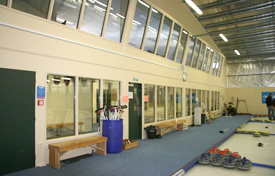 Inside of the Naseby Indoor Curling Centre