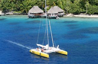 Sail a catamaran on the lagoon
