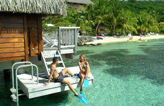 Enjoy the big blue straight from your overwater bunglaow at Le Maitai Bora Bora