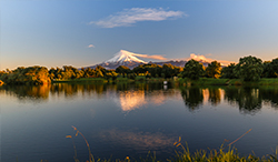 New Plymouth's Lake Rotomanu with Mount Taranaki in the background