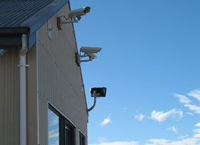 A security camera is installed on the Pukaki Airport Development Terminal Building and records landings