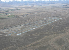 Aerial shot of Pukaki Airport