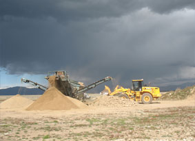 Topsoil being screened at Pukaki Airport
