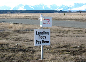 At Pukaki Airport landing fees are paid via an honesty box system, or accounts can be setup