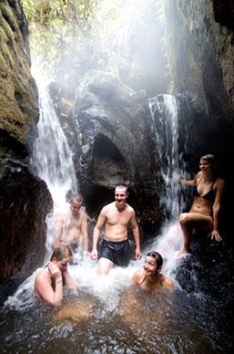 People enjoying the waterfall