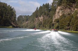 Jet boats cruising the river
