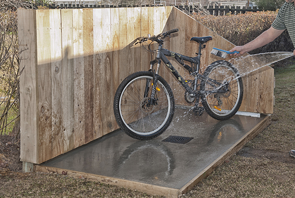 Purpose built bike washdown area