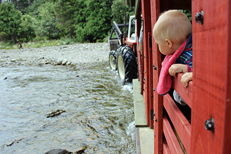 Kids love to ride the tractor trailer - fun family activities in wellington