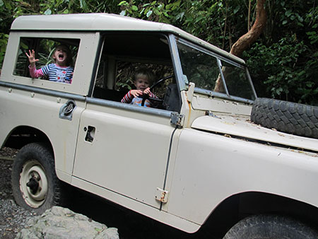 Climb aboard Larry Landrover at Staglands Wildlife Reserve - fun family activities in wellington