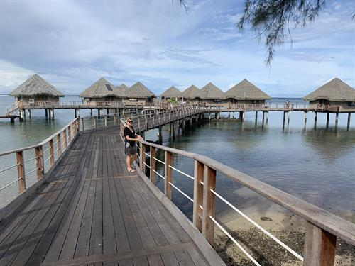 Alison Adam, owner of Tahiti Travel Mate on the pontoon of the Kia Ora Resort & Spa