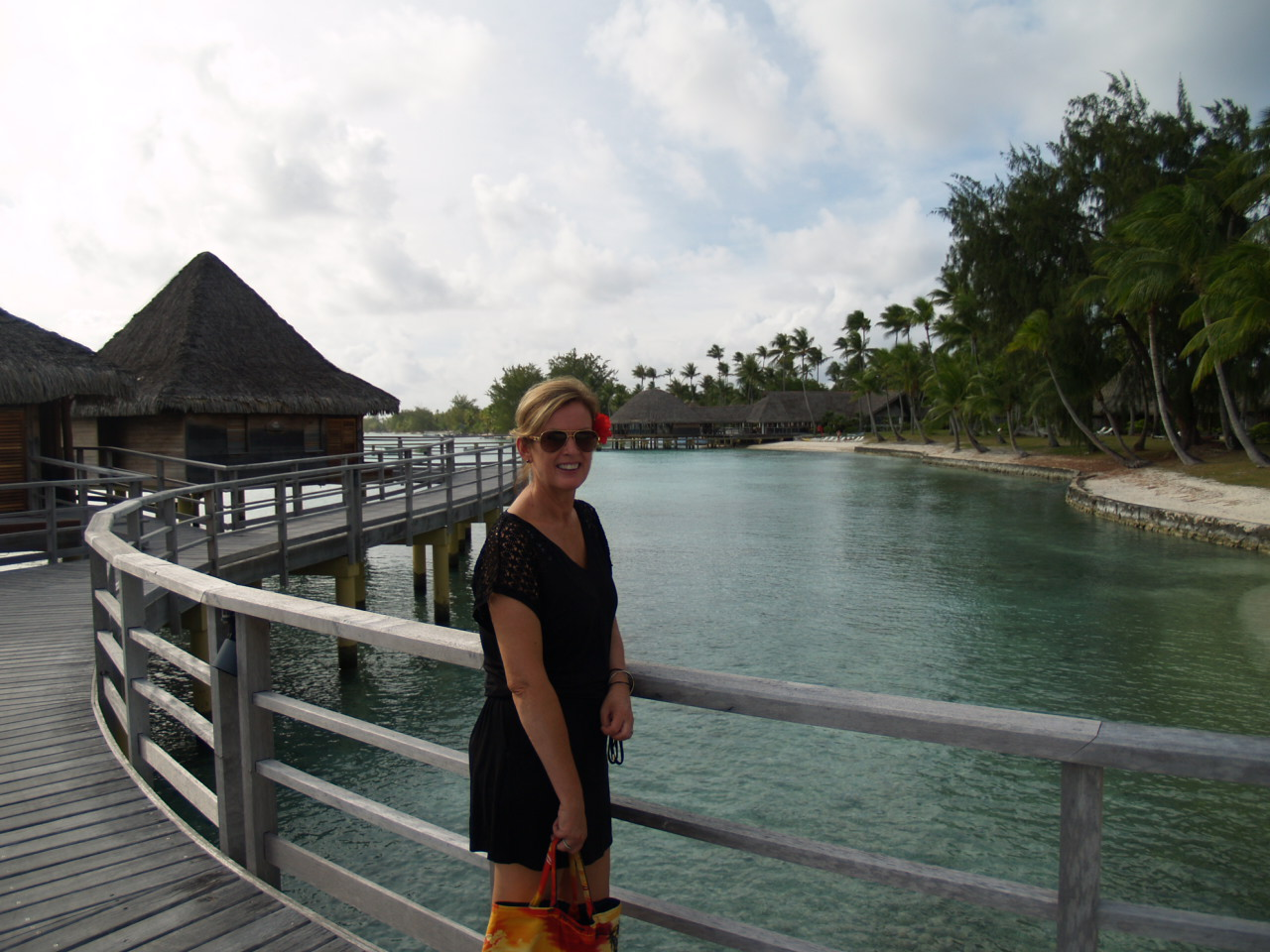 Hotel Kia Ora Rangiroa photo of Alison Adam on her Tahiti Trip