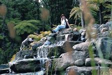 Enjoying time at the waterfall