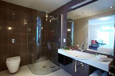 Luxury bathroom with separate bath and shower