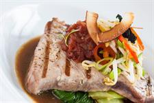 Sichuan Scented Tuna Steak, Sesame Bok Choi, Asian Salad