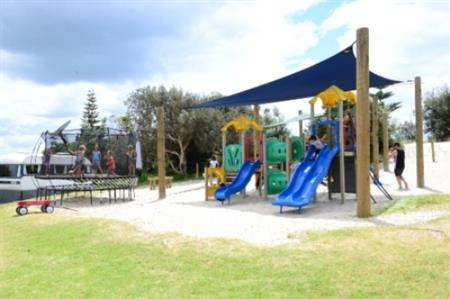 Children's playground and trampoline
